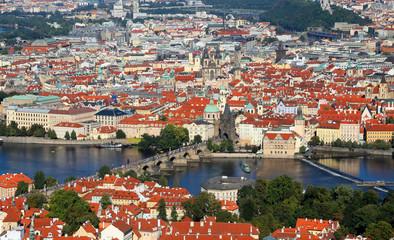 Fototapeta Prague in Czech Republic with charles bridge and Vltava river
