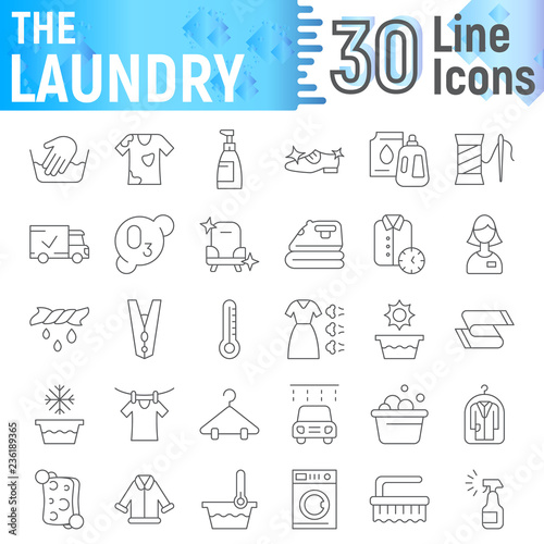 Laundry thin line icon set, clean symbols collection, vector