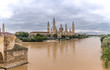 Zaragoza Basilica Cathedral Pilar Aragon Spain, water reflection Ebro river