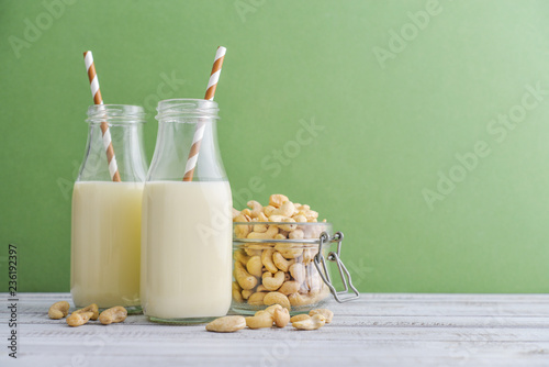 Two bottles vegetarian cashew milk