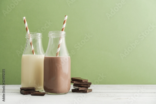 Two bottles chocolate and vanila milk