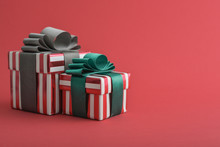 Two Red Striped Gift Box With ...