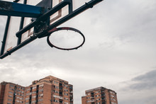 Street Ball Basketball Board With Torn Net