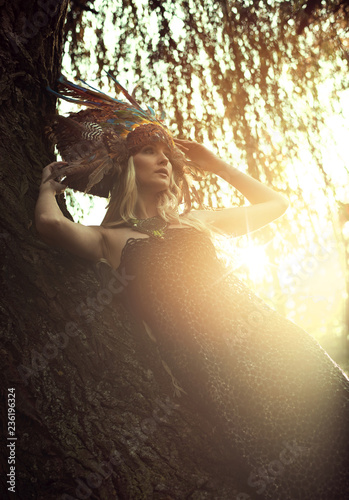 Foto op Canvas Artist KB Art portrait of a blond nymph posing in an autumnal park