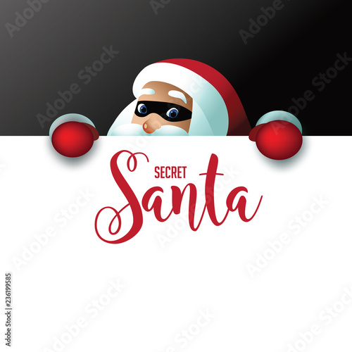 Secret Santa invitation background featuring cartoon Santa Claus holding a placard with copy space Canvas Print