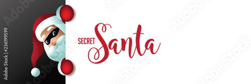 Photo Secret Santa invitation background featuring cartoon Santa Claus holding a placard with copy space