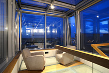 Cozy Chairs On Skylight Terrace By Night