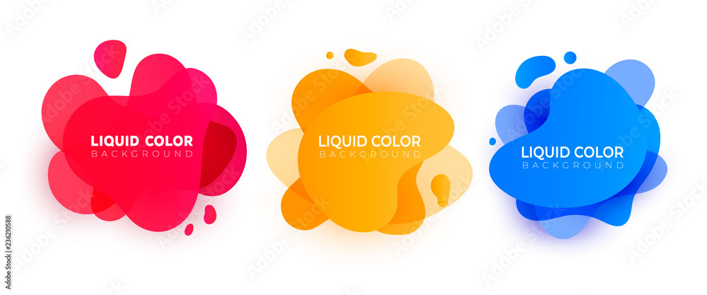 Fototapeta Set of wave liquid  gradient splashes. Vector design for covers, greeting card, poster or flyers.
