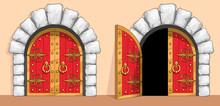 Medieval Red Wood Gate Decorat...