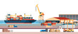 Industrial sea port cargo logistics container import export freight ship crane water delivery transportation concept shipping dock flat horizontal banner
