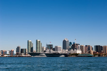 Downtown San Diego With Uss Midway