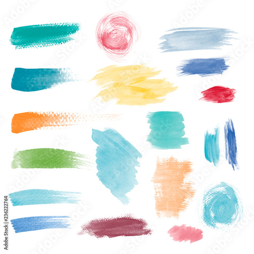 Photo Colorful brushstroke design vector set