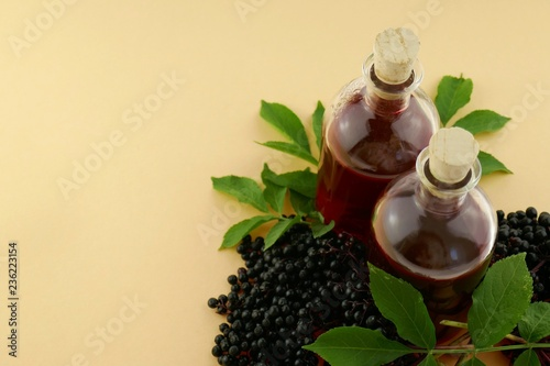 a3cd27bb8855 Elderberry syrup.Tincture of elderberry berries in a bottle