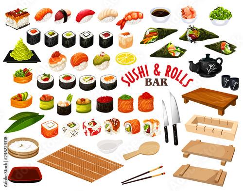 Fototapeta Japanese cuisine from sushi and rolls bar vector obraz