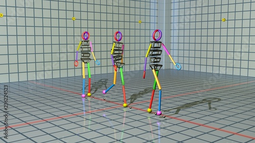 Gait recognition , motion capture 3d render of character walking