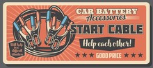 Start Cable And Battery Car Service Retro Poster