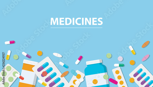 Fotografia  medicines drug collection with banner free space with blue background