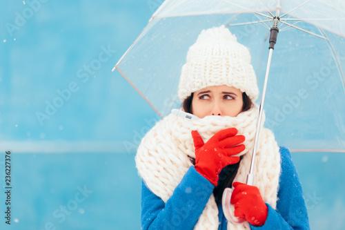 Cuadros en Lienzo Sad Sick Winter Woman Holding Transparent Umbrella