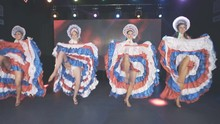 Beautiful Girls In Burlesque Costumes Dance On Stage. Dance Show.
