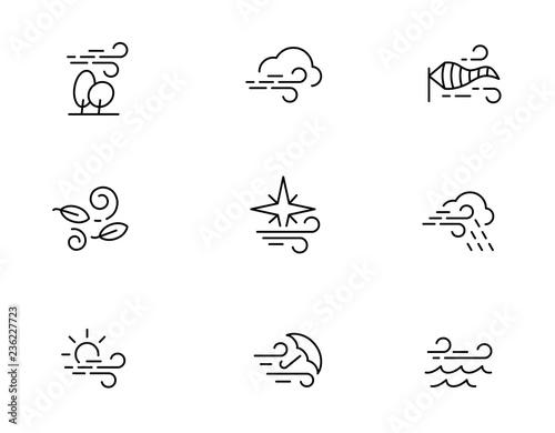 Fototapeta  Wind icons in line style. Vector editable line.