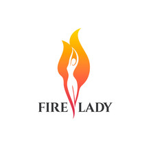 Vector Logo Design Template. Fire Lady Sign.