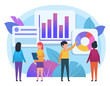 Business charts, diagrams analytics. People stand near various charts. Poster for social media, web page, banner, presentation. Flat design vector illustration