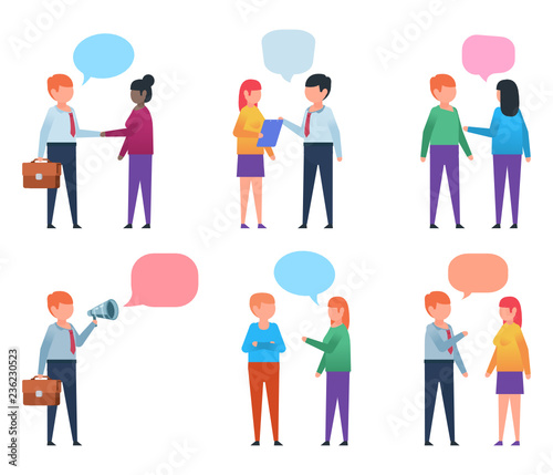 various people chatting talking communication concept man and woman talking flat design vector illustration buy this stock vector and explore similar vectors at adobe stock adobe stock design vector illustration