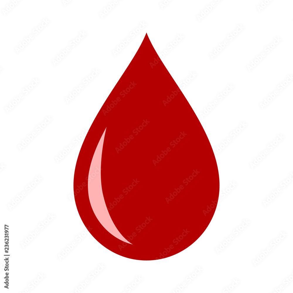 Fototapeta Red blood drop / droplet flat vector icon for medical apps and websites