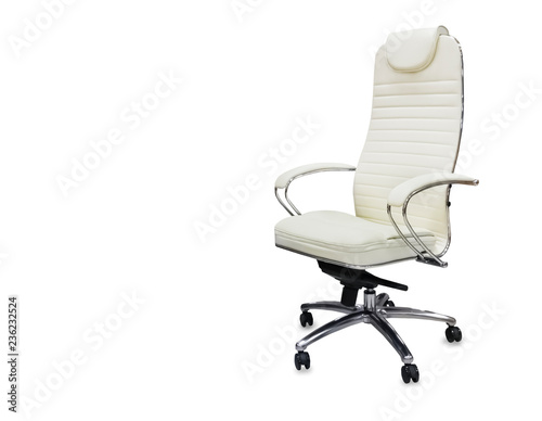 Fotografia The office chair from white leather. Isolated