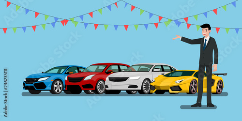Staande foto Cartoon cars A happy businessman, salesman is standing and present his vehicles and super car for sell or rent that parked in the shop.Vector illustration design.