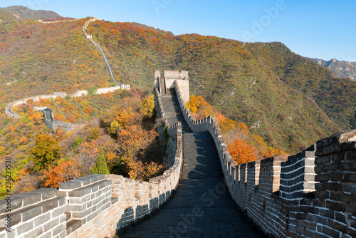 Fotobehang Chinese Muur China The great wall distant view compressed towers and wall segments autumn season in mountains near Beijing ancient chinese fortification military landmark in Beijing, China.