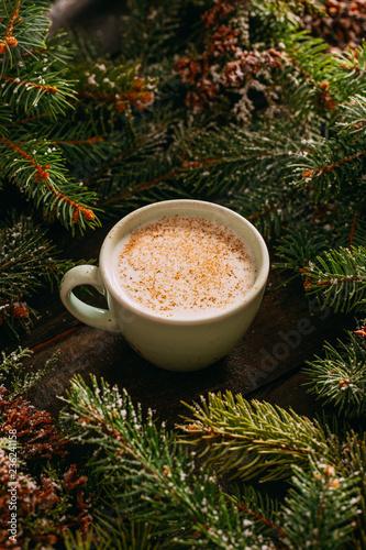 Foto op Plexiglas Chocolade Delicious Salep and Pine Ornaments