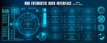 Dashboard Display Virtual Reality Technology Screen. HUD Futuristic Blue User Interface