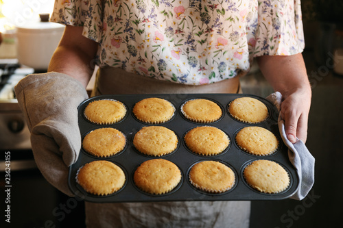 Freshly baked cupcakes food photography recipe idea