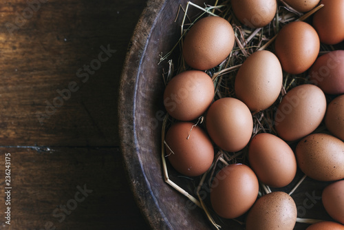 Aerial view of fresh hen eggs wallpaper