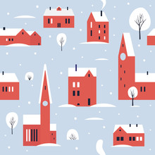 Urban Winter Landscape With Red Various Buildings, Towers In The Snow. Small Northern Cute Town. Seamless Pattern For Winter, New Year And Christmas Theme. Vector Colorful Illustration.