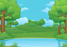 Summer, Spring Day Background. Lake Or River With Lush Green Trees And Bushes.