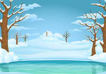 Winter Day Background. Frozen Lake Or River With Snow Covered Leafless Trees And Bushes. Snowy Hills And Meadows In The Background.
