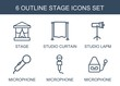 stage icons. Set of 6 outline stage icons included studio curtain, studio lapm, microphone on white background. Editable stage icons for web, mobile and infographics.