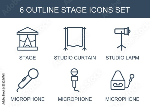 Fototapeta stage icons. Set of 6 outline stage icons included studio curtain, studio lapm, microphone on white background. Editable stage icons for web, mobile and infographics. obraz na płótnie