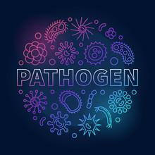 Pathogen Round Vector Colorful Concept Illustration In Outlline Style On Dark Background
