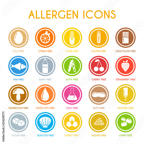 Allergen icons. Vector illustration Canvas Print