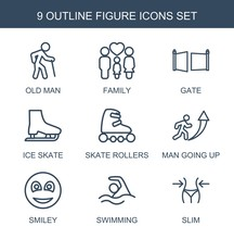 Figure Icons. Set Of 9 Outline Figure Icons Included Old Man, Family, Gate, Ice Skate, Skate Rollers, Man Going Up On White Background. Editable Figure Icons For Web, Mobile And Infographics.