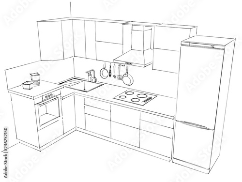 Top View Of L Shape Kitchen With Wall Mounted Chimney Cooker Hood