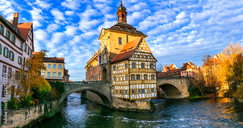 Beautiful places of Germany- Bamberg in Bavaria. View with townhall over the bridge