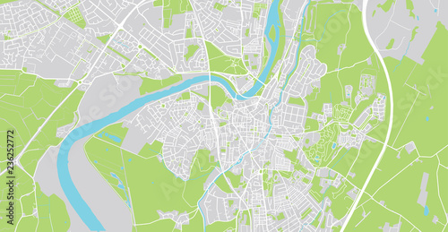 Valokuvatapetti Urban vector city map of Lancaster, England