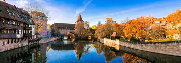 Nurnberg old town in autumn colors. Landmarks of Bavaria, Germany