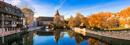 Nurnberg old town in autumn colors. Landmarks of Bavaria, Germany