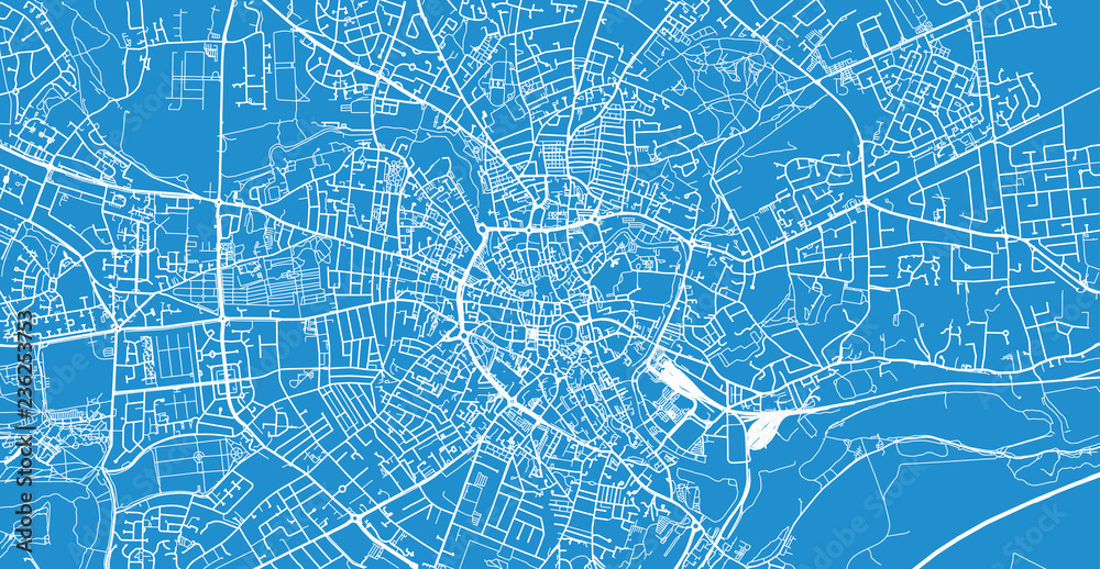 Fotografía Urban vector city map of Norwich, England