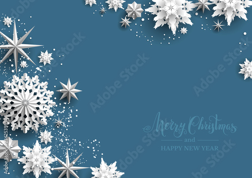 Fotobehang - Winter holiday realistic paper cut snowflakes. Snow christmas decoration for design banner, ticket, invitation, greetings, leaflet and so on.